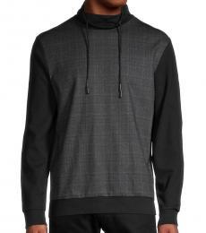 Black Plaid-Print Sweatshirt