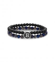 Ben Sherman Black Beaded Logo Bracelet