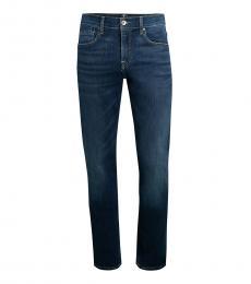 7 For All Mankind Dark Blue Slim-Fit Straight-Leg Jeans