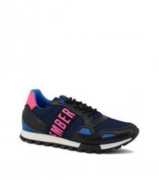 Bikkembergs Blue Pink Logo Sneakers