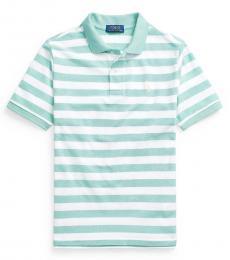 Ralph Lauren Boys Tiki Green Striped Mesh Polo