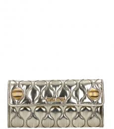 Miu Miu Silver Quilted Wallet