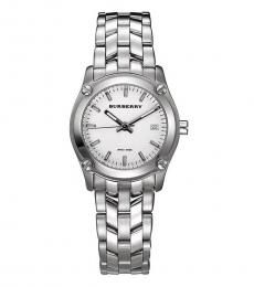 Burberry Silver Heritage White Dial Watch