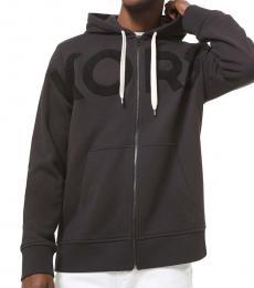 Michael Kors Black Zip-Front Logo Hoodie