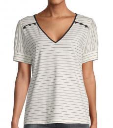 Soft White Striped Cotton-Blend Top