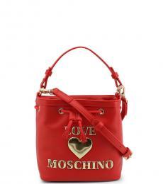 Love Moschino Red Logo Mini Bucket Bag