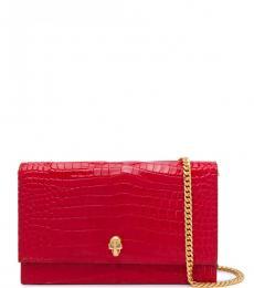 Alexander McQueen Red Skull Small Shoulder Bag