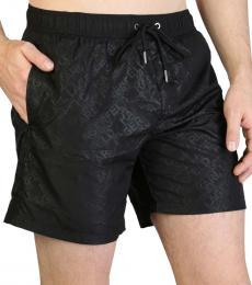 Karl Lagerfeld Black Allover Logo Swimwear