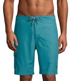 Turquoise Solid Swim Trunks