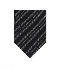 Black Grey Stripe Herringbone Tie