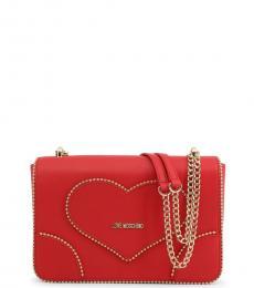 Love Moschino Red Heart Stud Medium Shoulder Bag