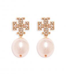 Tory Burch Rose Gold Crystal Pearl Earrings