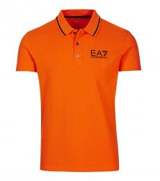 Emporio Armani Orange Solid Logo Polo