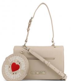 Love Moschino Beige Round Pouch Medium Shoulder Bag