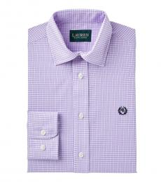 Ralph Lauren Boys Lilac/White Checked Dress Shirt