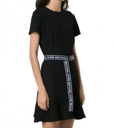 Michael Kors Black Logo Tape Belted Flounce Dress