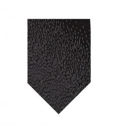 DKNY Black Paneled Rain Slim Tie