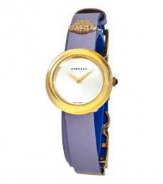 Versace Purple V-Flare Silver Dial Watch