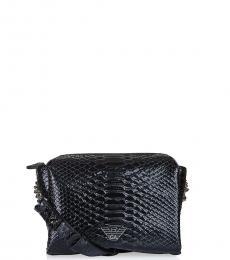 Black Textured Mini Crossbody Bag