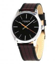 Coach Two Tone Leather Strap Watch