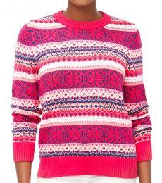 Bright Berry Fair Isle Crewneck Sweater