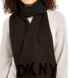 DKNY Black Logo Flocked Scarf