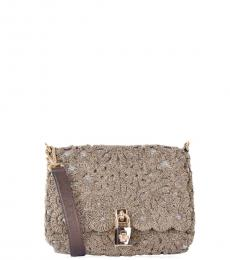 Dolce & Gabbana Gold Embroidered Small Shoulder Bag