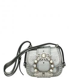 Miu Miu Silver Embellished Mini Crossbody