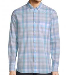 Plush Pink Washed-Plaid Pocket Shirt