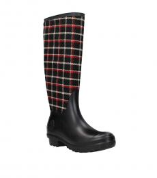 Black Red Check Print Boots