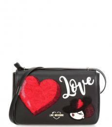 Black Love Heart Medium Shoulder Bag