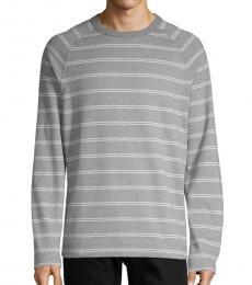 Grey Striped Cotton Sweatshirt