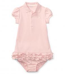 Ralph Lauren Baby Girls Pink Ruffled Polo Dress