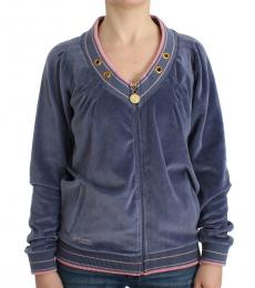 Just Cavalli Blue Velvet Zip-Up Jacket