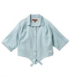 Little Girls Soft Blue Front Tie Top
