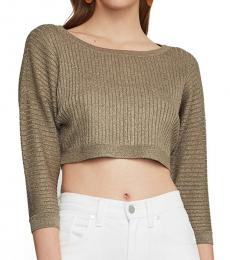 BCBGMaxazria Golden Metallic Knit Cropped Top