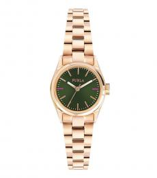 Furla Rose-Gold Eva Green Dial Watch
