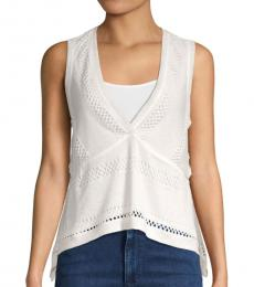 BCBGMaxazria Off White Perforated Knitted Top