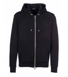 Black Solid Zipper Sweatshirt