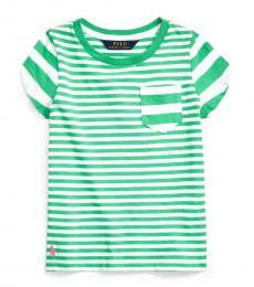 Ralph Lauren Little Girls Cycle Green Striped T-Shirt