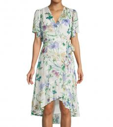 Calvin Klein Blue Multi Floral High-Low Faux Wrap Dress
