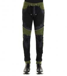 Balmain Black Bimaterial Jogger Pants