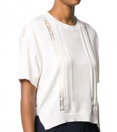 White Silk Cotton Blend Sweater
