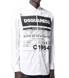 White Logo Printed Shirt