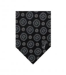Versace Black Grey Embroidered Floral Tie