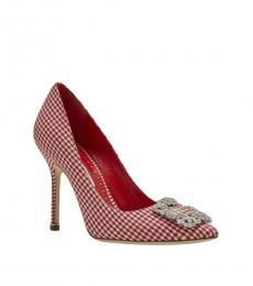 Manolo blahnik Red Gihgham Hangisi Heels