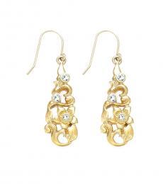 Ralph Lauren Gold Crystal Flower Earrings