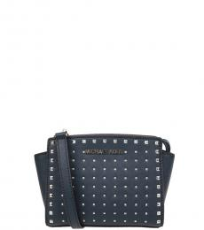 Michael Kors Navy Selma Studded Small Crossbody