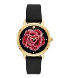 Black Embroidered Rose Watch
