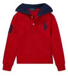 Little Boys Red Big Pony Hooded T-Shirt